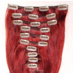 Set of 10 Pieces of Weft, Clip in Hair Extensions, Color Red, Made With Remy Indian Human Hair