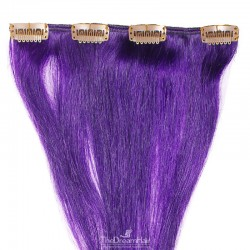 One Piece of Weft, Clip in Hair Extensions, Color Purple, Made With Remy Indian Human Hair
