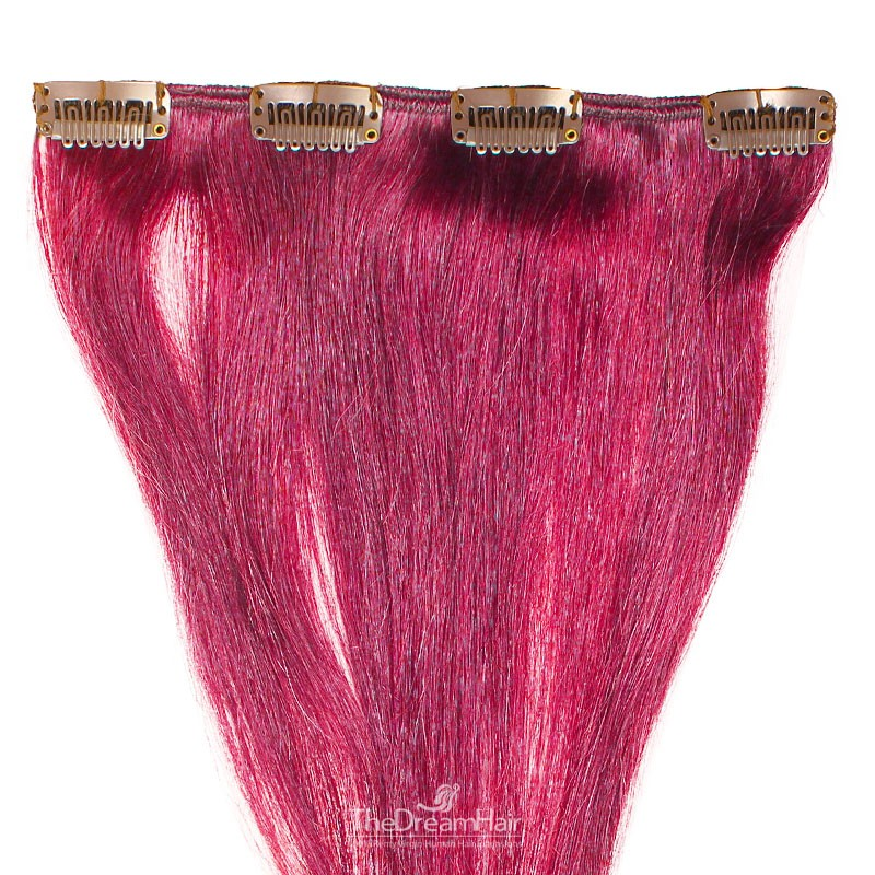 One Piece of Weft, Clip in Hair Extensions, Color Pink, Made With Remy Indian Human Hair