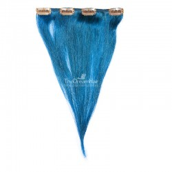 One Piece of Weft, Clip in Hair Extensions, Color Blue, Made With Remy Indian Human Hair