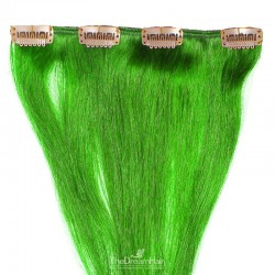 One Piece of Weft, Clip in Hair Extensions, Color Green, Made With Remy Indian Human Hair