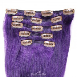 Set of 5 Pieces of Weft, Clip in Hair Extensions, Color Purple, Made With Remy Indian Human Hair