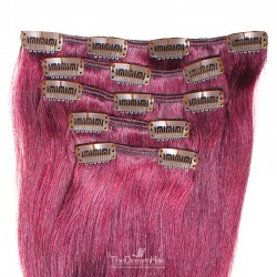 Set of 5 Pieces of Weft, Clip in Hair Extensions, Color Pink, Made With Remy Indian Human Hair