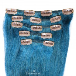 Set of 5 Pieces of Weft, Clip in Hair Extensions, Color Blue, Made With Remy Indian Human Hair
