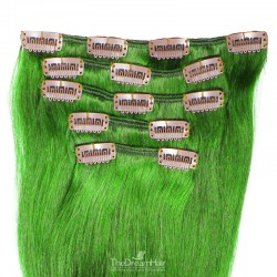 Set of 5 Pieces of Weft, Clip in Hair Extensions, Color Green, Made With Remy Indian Human Hair