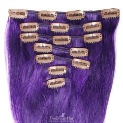 Set of 7 Pieces of Weft, Clip in Hair Extensions, Color Purple, Made With Remy Indian Human Hair