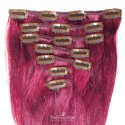 Set of 7 Pieces of Weft, Clip in Hair Extensions, Color Pink, Made With Remy Indian Human Hair