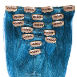 Set of 7 Pieces of Weft, Clip in Hair Extensions, Color Blue, Made With Remy Indian Human Hair