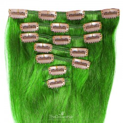 Set of 7 Pieces of Weft, Clip in Hair Extensions, Color Green, Made With Remy Indian Human Hair