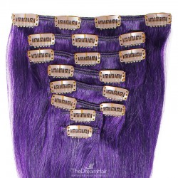 Set of 8 Pieces of Weft, Clip in Hair Extensions, Color Purple, Made With Remy Indian Human Hair