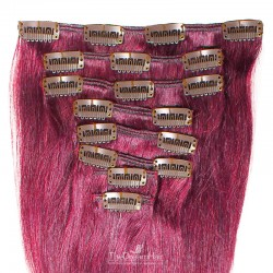 Set of 8 Pieces of Weft, Clip in Hair Extensions, Color Pink, Made With Remy Indian Human Hair