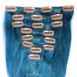 Set of 8 Pieces of Weft, Clip in Hair Extensions, Color Blue, Made With Remy Indian Human Hair