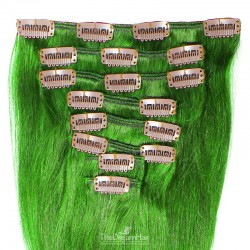 Set of 8 Pieces of Weft, Clip in Hair Extensions, Color Green, Made With Remy Indian Human Hair