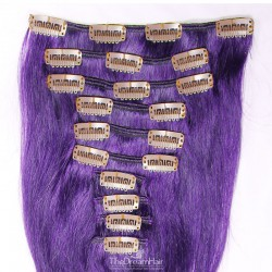 Set of 10 Pieces of Weft, Clip in Hair Extensions, Color Purple, Made With Remy Indian Human Hair