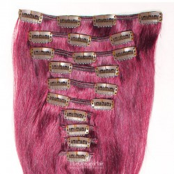 Set of 10 Pieces of Weft, Clip in Hair Extensions, Color Pink, Made With Remy Indian Human Hair