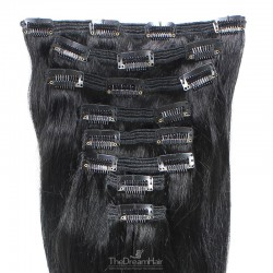 Set of 8 Pieces of Double Weft, Clip in Hair Extensions, Color #1 (Jet Black), Made With Remy Indian Human Hair