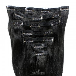 Set of 7 Pieces of Double Weft, Clip in Hair Extensions, Color #1 (Jet Black), Made With Remy Indian Human Hair