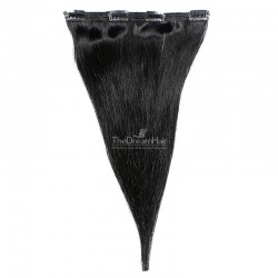 One Piece of Double Weft, Clip in Hair Extensions, Color #1 (Jet Black), Made With Remy Indian Human Hair