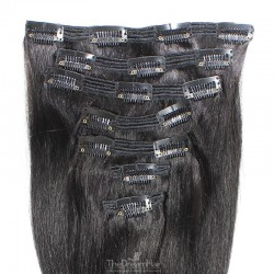 Set of 7 Pieces of Double Weft, Clip in Hair Extensions, Color #1B (Off Black), Made With Remy Indian Human Hair