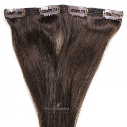 One Piece of Double Weft, Clip in Hair Extensions, Color #2 (Darkest Brown), Made With Remy Indian Human Hair