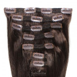 Set of 7 Pieces of Double Weft, Clip in Hair Extensions, Color #2 (Darkest Brown), Made With Remy Indian Human Hair