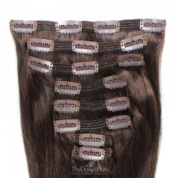 Set of 8 Pieces of Double Weft, Clip in Hair Extensions, Color #2 (Darkest Brown), Made With Remy Indian Human Hair