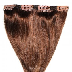 One Piece of Double Weft, Clip in Hair Extensions, Color #4 (Dark Brown), Made With Remy Indian Human Hair