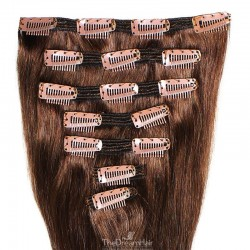 Set of 7 Pieces of Double Weft, Clip in Hair Extensions, Color #4 (Dark Brown), Made With Remy Indian Human Hair