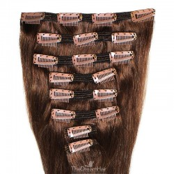 Set of 8 Pieces of Double Weft, Clip in Hair Extensions, Color #4 (Dark Brown), Made With Remy Indian Human Hair