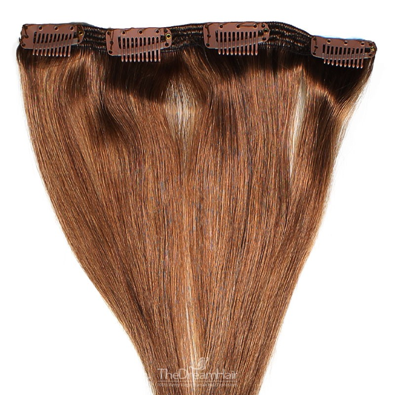 One Piece of Double Weft, Clip in Hair Extensions, Color #6 (Medium Brown), Made With Remy Indian Human Hair