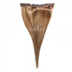 One Piece of Double Weft, Clip in Hair Extensions, Color #8 (Chestnut Brown), Made With Remy Indian Human Hair