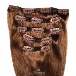 Set of 5 Pieces of Double Weft, Clip in Hair Extensions, Color #6 (Medium Brown), Made With Remy Indian Human Hair