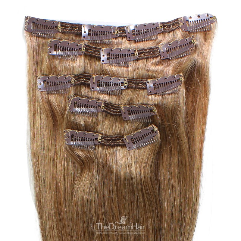 Set of 5 Pieces of Double Weft, Clip in Hair Extensions, Color #8 (Chestnut Brown), Made With Remy Indian Human Hair