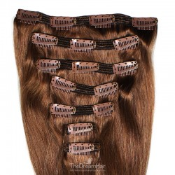 Set of 7 Pieces of Double Weft, Clip in Hair Extensions, Color #6 (Medium Brown), Made With Remy Indian Human Hair