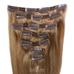 Set of 7 Pieces of Double Weft, Clip in Hair Extensions, Color #8 (Chestnut Brown), Made With Remy Indian Human Hair