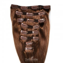 Set of 8 Pieces of Double Weft, Clip in Hair Extensions, Color #6 (Medium Brown), Made With Remy Indian Human Hair