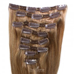 Set of 8 Pieces of Double Weft, Clip in Hair Extensions, Color #8 (Chestnut Brown), Made With Remy Indian Human Hair