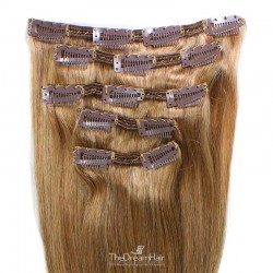 Set of 5 Pieces of Double Weft, Clip in Hair Extensions, Color #10 (Golden Brown), Made With Remy Indian Human Hair