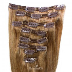 Set of 8 Pieces of Double Weft, Clip in Hair Extensions, Color #10 (Golden Brown), Made With Remy Indian Human Hair