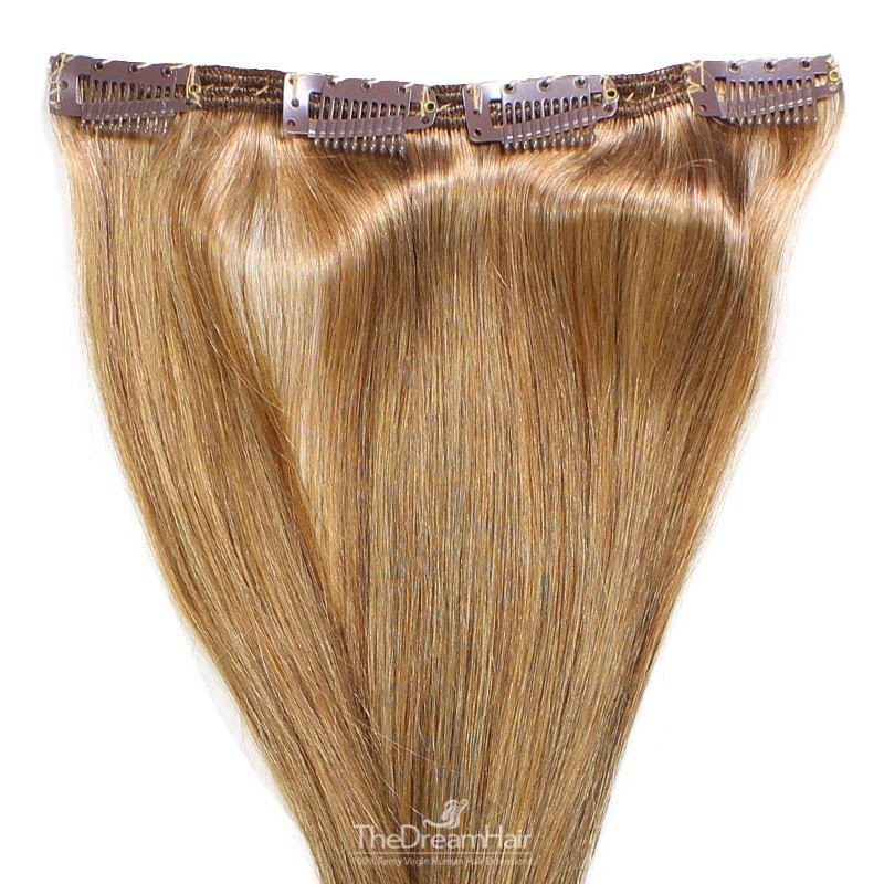 One Piece of Double Weft, Clip in Hair Extensions, Color #12 (Light Brown), Made With Remy Indian Human Hair