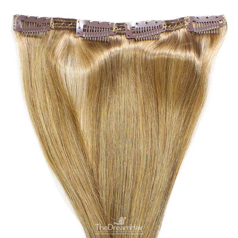 One Piece of Double Weft, Clip in Hair Extensions, Color #14 (Dark Ash Blonde), Made With Remy Indian Human Hair