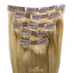 Set of 5 Pieces of Double Weft, Clip in Hair Extensions, Color #16 (Medium Ash Blonde), Made With Remy Indian Human Hair