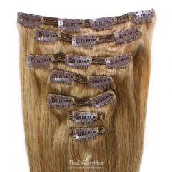 Set of 7 Pieces of Double Weft, Clip in Hair Extensions, Color #12 (Light Brown), Made With Remy Indian Human Hair