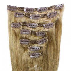 Set of 7 Pieces of Double Weft, Clip in Hair Extensions, Color #16 (Medium Ash Blonde), Made With Remy Indian Human Hair