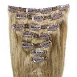 Set of 7 Pieces of Double Weft, Clip in Hair Extensions, Color #18 (Light Ash Blonde), Made With Remy Indian Human Hair