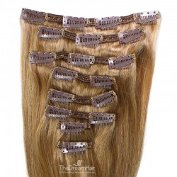 Set of 8 Pieces of Double Weft, Clip in Hair Extensions, Color #12 (Light Brown), Made With Remy Indian Human Hair