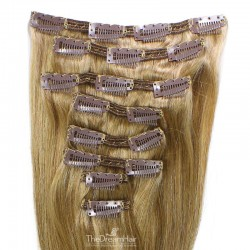 Set of 8 Pieces of Double Weft, Clip in Hair Extensions, Color #14 (Dark Ash Blonde), Made With Remy Indian Human Hair