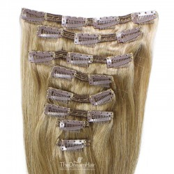Set of 8 Pieces of Double Weft, Clip in Hair Extensions, Color #18 (Light Ash Blonde), Made With Remy Indian Human Hair