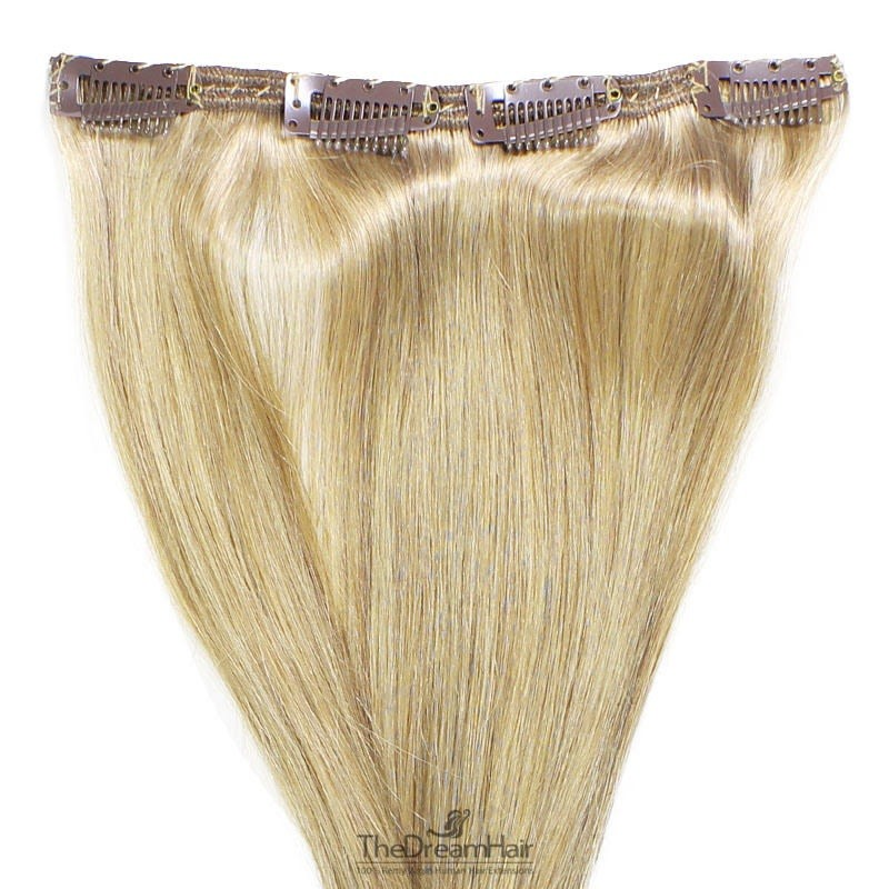 One Piece of Double Weft, Clip in Hair Extensions, Color #22 (Light Pale Blonde), Made With Remy Indian Human Hair