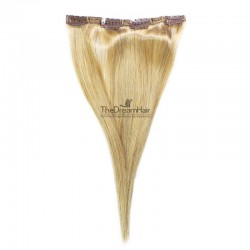 One Piece of Double Weft, Clip in Hair Extensions, Color #24 (Golden Blonde), Made With Remy Indian Human Hair